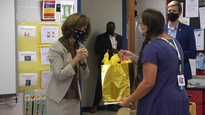 Virginia's First Lady Pamela Northam stopped at Clymore Elementary School in Augusta County, VA...