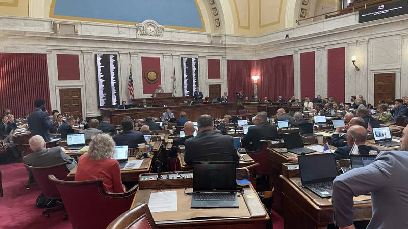 Delegates debate the COVID-19 vaccination mandate exemption bill during Friday morning's floor...