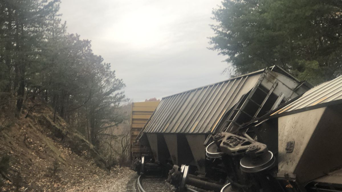 Train derails just south of Stanley. | Credit: Stanley Fire Department