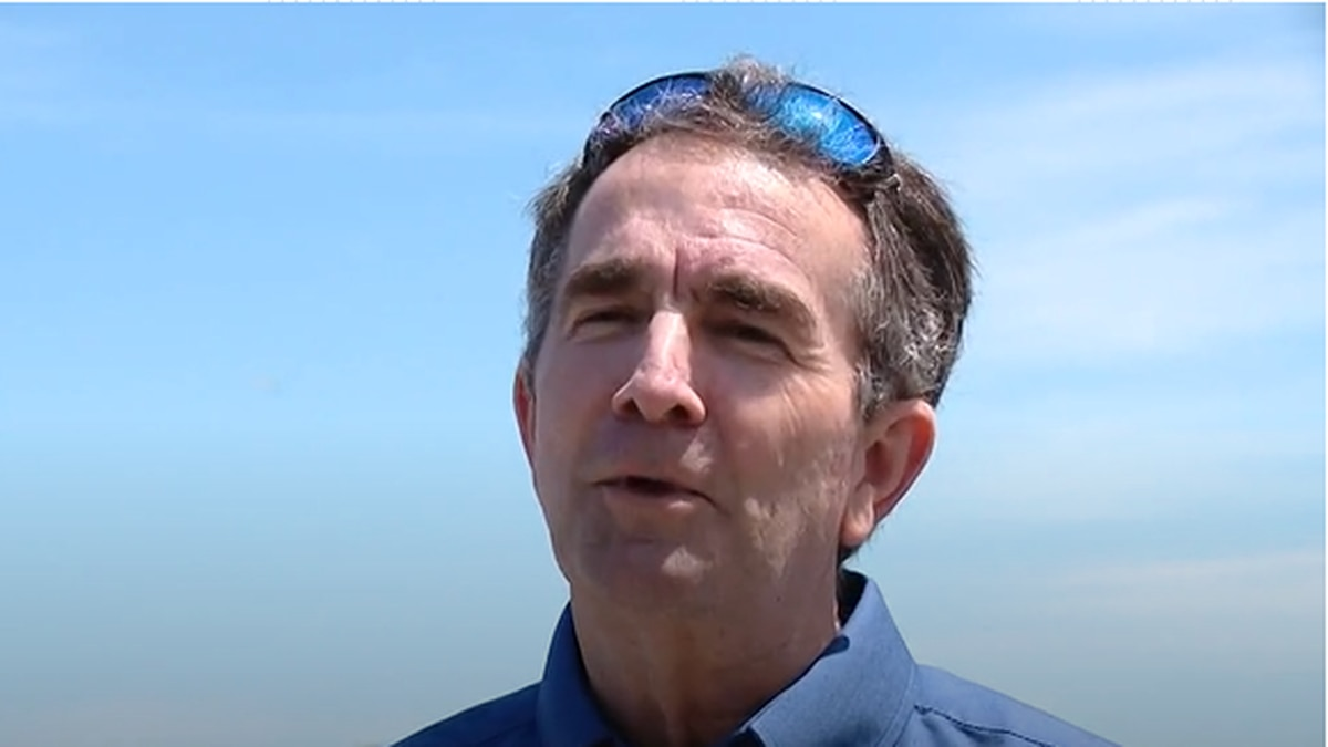 Northam visits Virginia Beach on Saturday without a mask. | Credit: WVEC