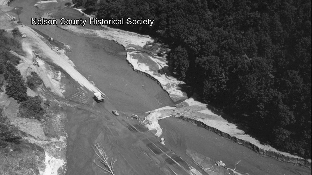Historical imagery of Hurricane Camille's damage in Nelson County in August 1969