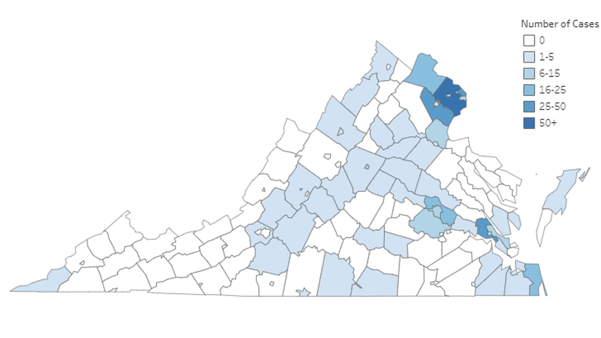 Virginia Department of Health graphic as of noon on March 25