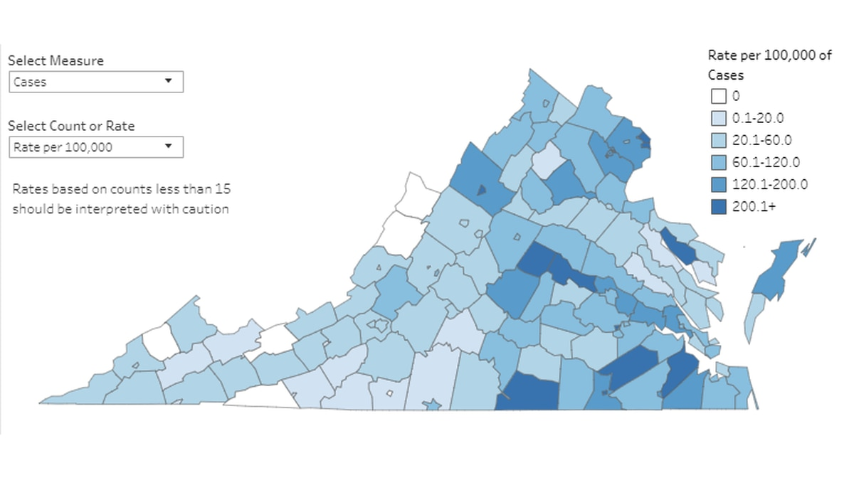 Graphic provided by the Virginia Dept. of Health showing cases on a rate per 100,000 people as of April 21, 2020