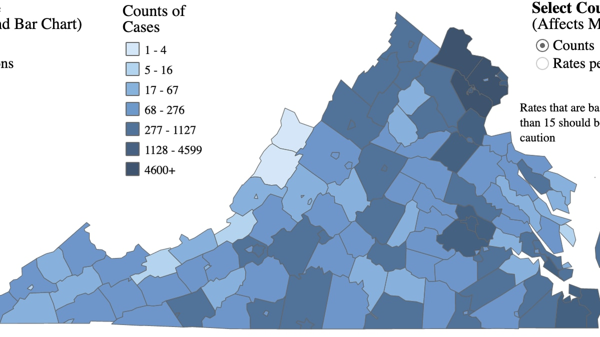 Map of COVID-19 cases in Virginia as of August 1, 2020.