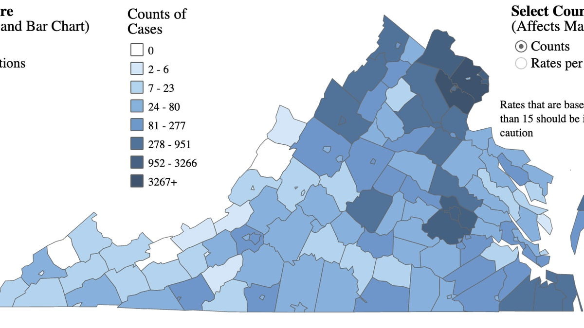 Map of COVID-19 cases in Virginia as of May 30, 2020. | Credit: Virginia Department of Health