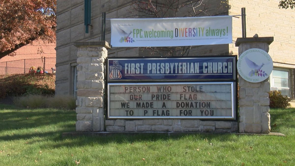 A church is turning a negative act into a positive message after its LGBTQ pride flag was stolen multiple times. (WDTV photo)