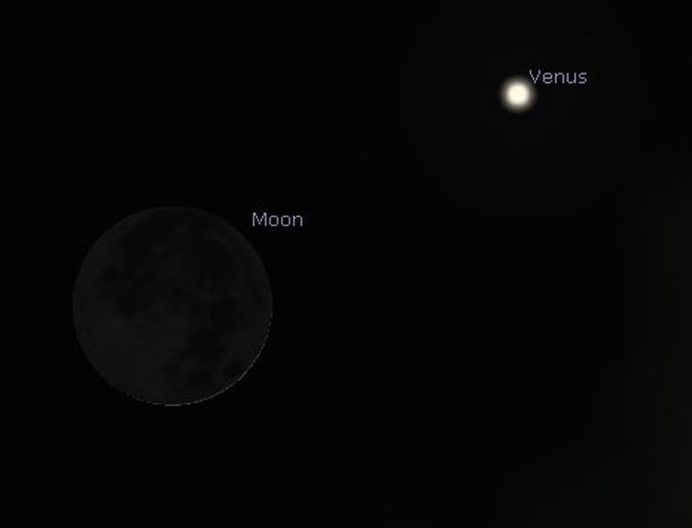 Just after sunset Wednesday, the moon will be positioned to the lower left of Venus.