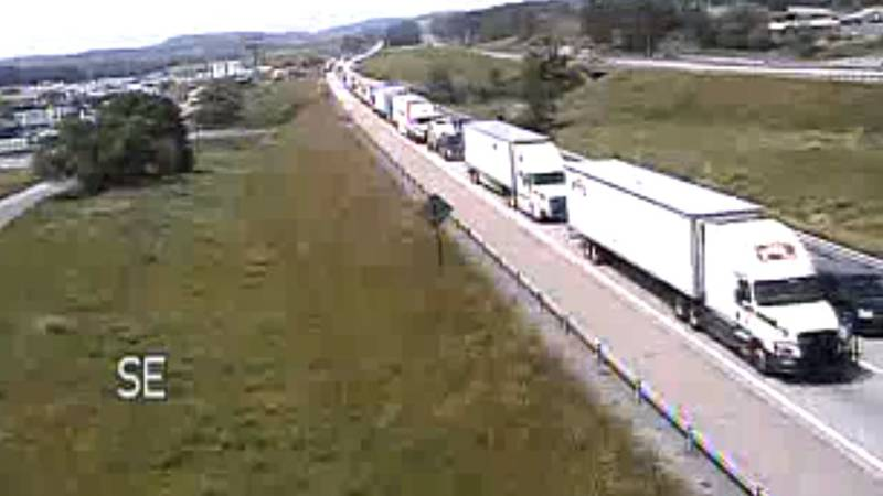 Snapshot from VDOT traffic camera at MM 205 of Interstate 81 at 11:47 a.m. on June 9, 2020