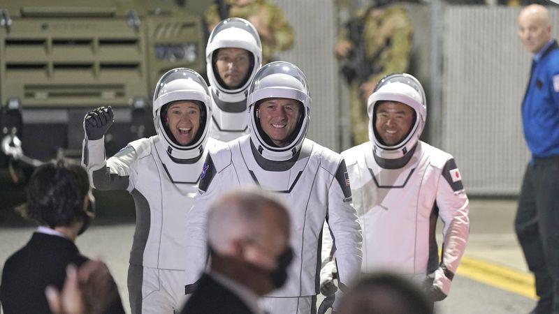SpaceX astronauts, from left, NASA astronaut Megan McArthur, European Space Agency astronaut...