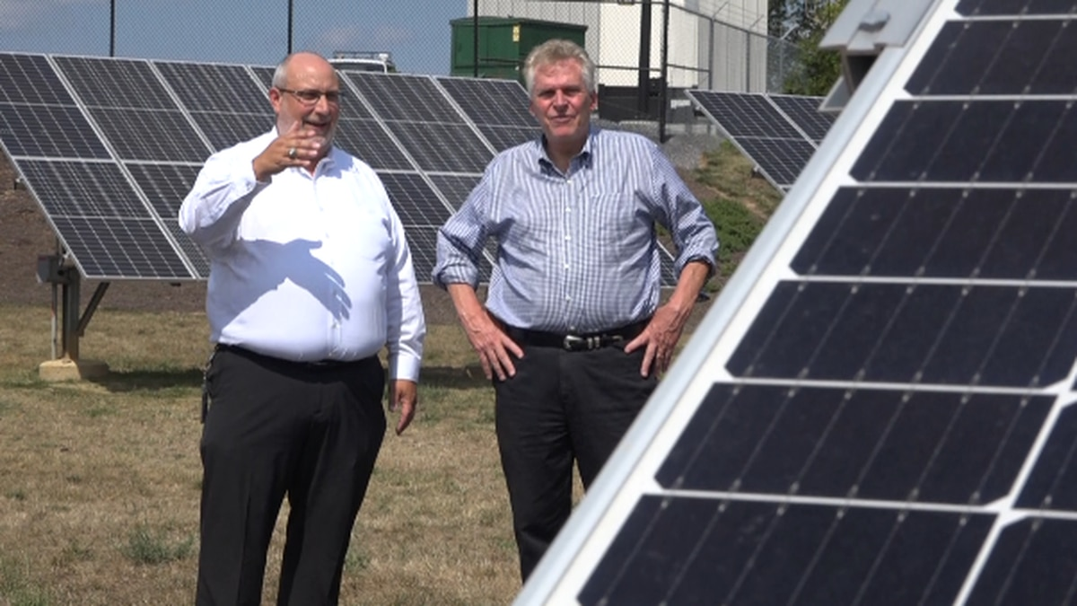 McAuliffe checking out the solar panels outside SVEC's Rockingham County office.