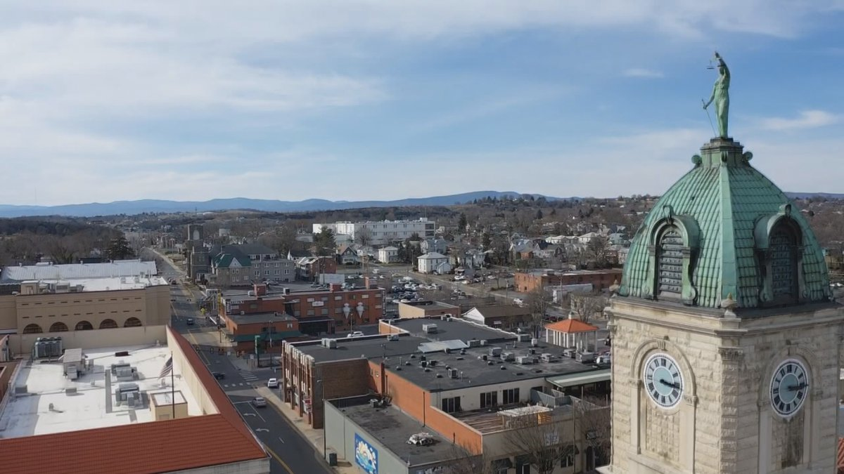Air3 flies over Court Square in downtown Harrisonburg.
