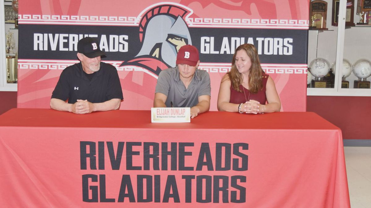 Riverheads High School hosted a socially-distanced signing day ceremony for student-athletes who will compete at the next level Thursday afternoon. (Photo Courtesy: Riverheads High School)