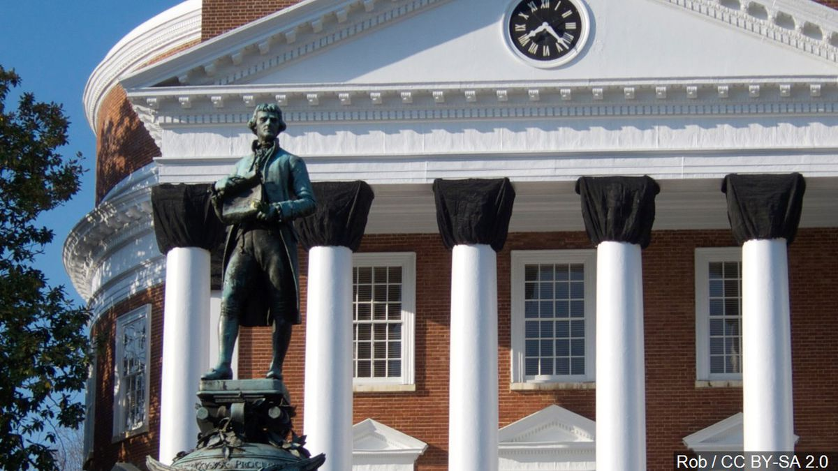 Statue of Thomas Jefferson at the University of Virginia in Charlottesville, Va.