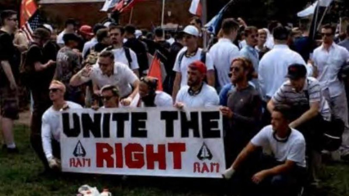 An image released by the FBI showing members of the Rise Above Movement attending the Unite the...