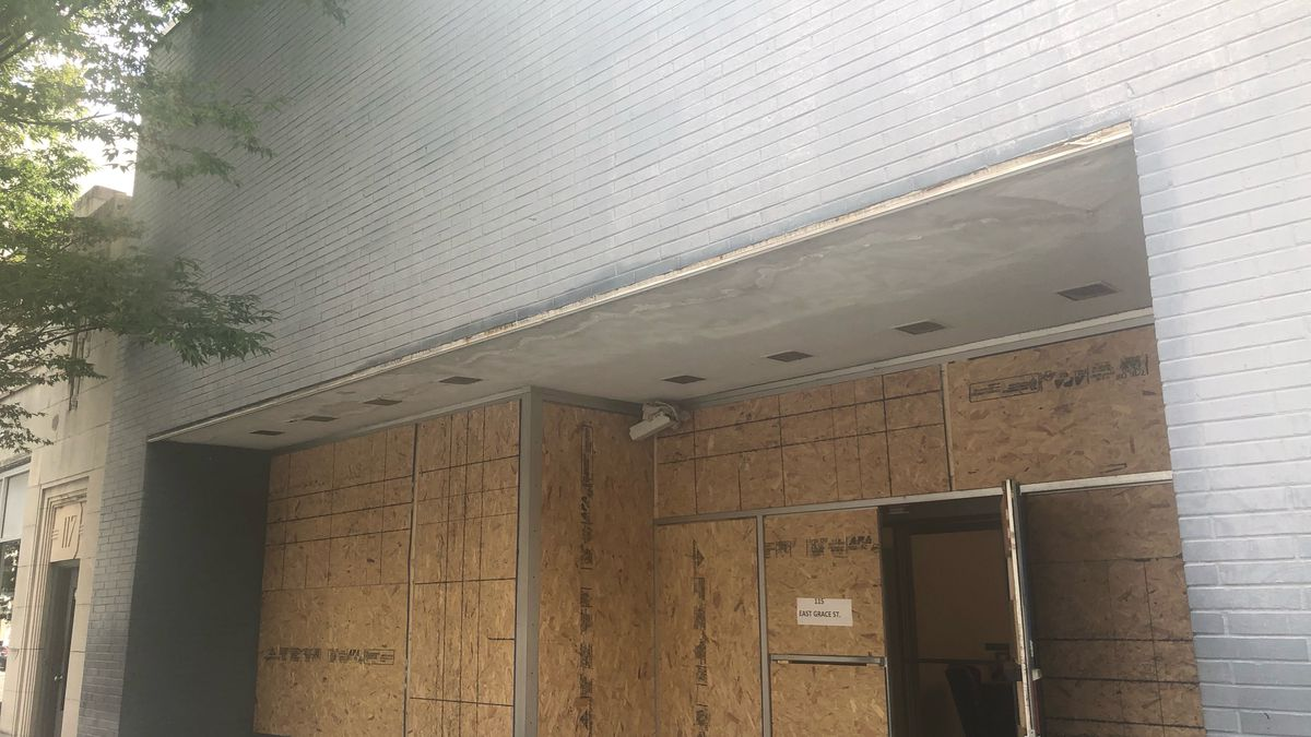 The Republican Party of Virginia headquarters in Richmond remains boarded up after it was...