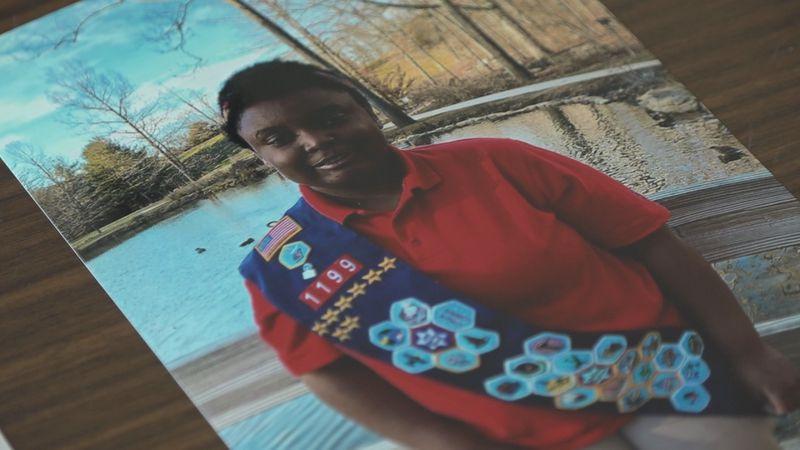 Makayla Keplinger has earned dozens of badges and is earning the Stars and Stripes award.