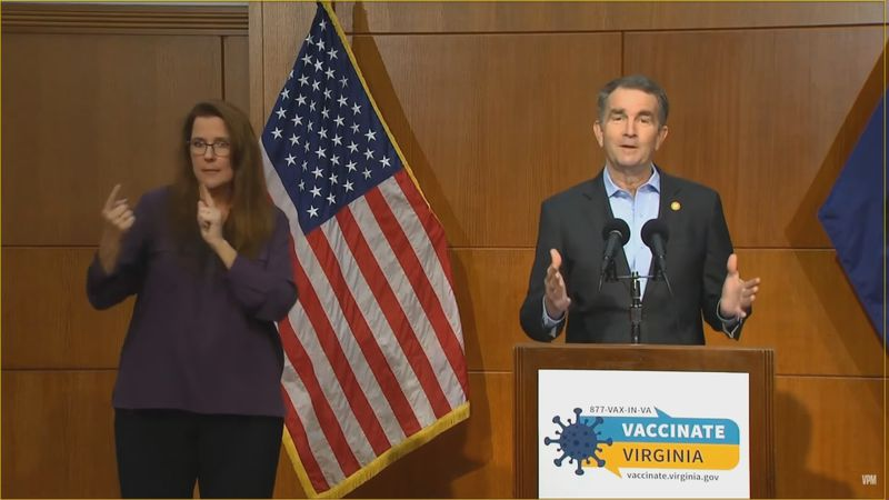 Governor Ralph Northam announces upcoming restriction changes.