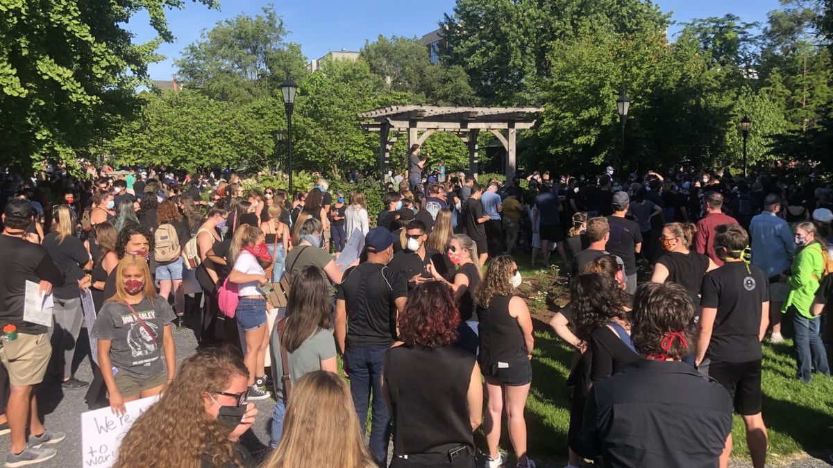 """A """"Silent March"""" was held in downtown Harrisonburg on Monday after the death of George Floyd."""
