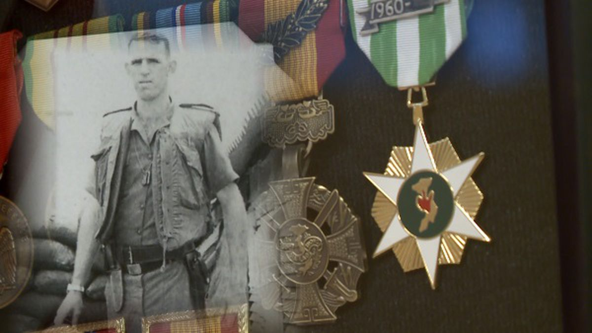 John T. Copley, a U.S. Army veteran, was presented Thursday with several medals he earned years ago, including the Soldier's Medal.