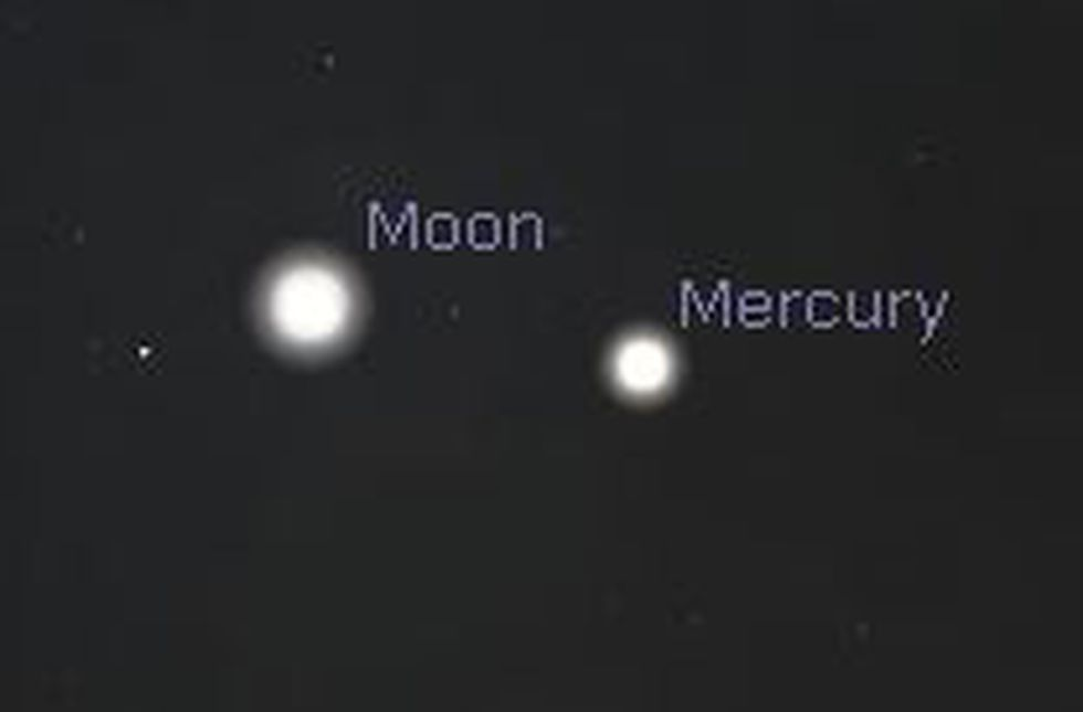 Thursday just after sunset, the moon will be positioned just to the left of Mercury.