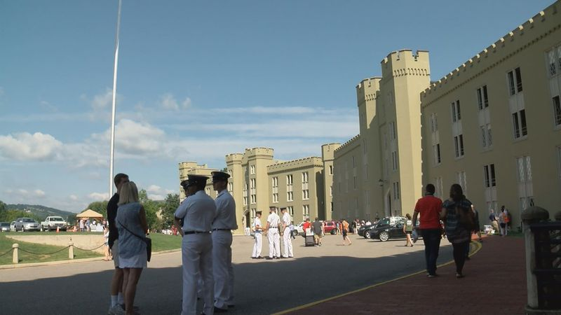 Cadets arrive at the Virginia Military Institute barracks in August, 2019.