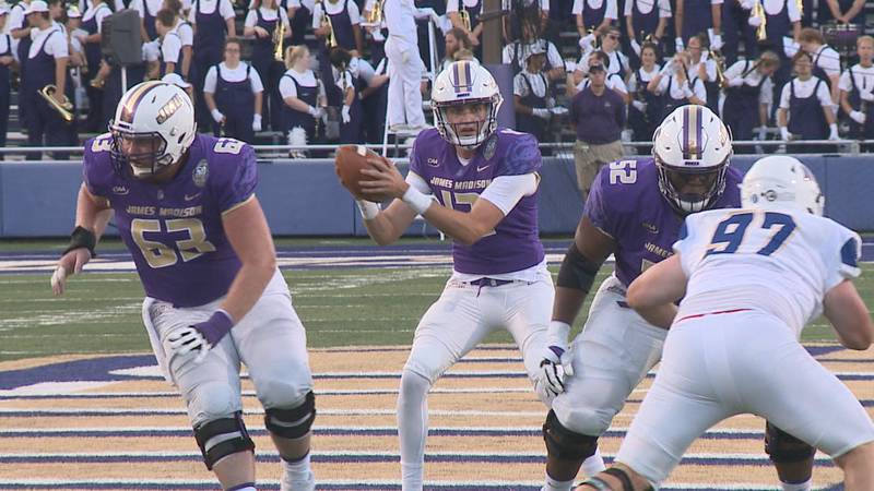 The James Madison football team's offensive line is preparing to play the rest of the 2021...