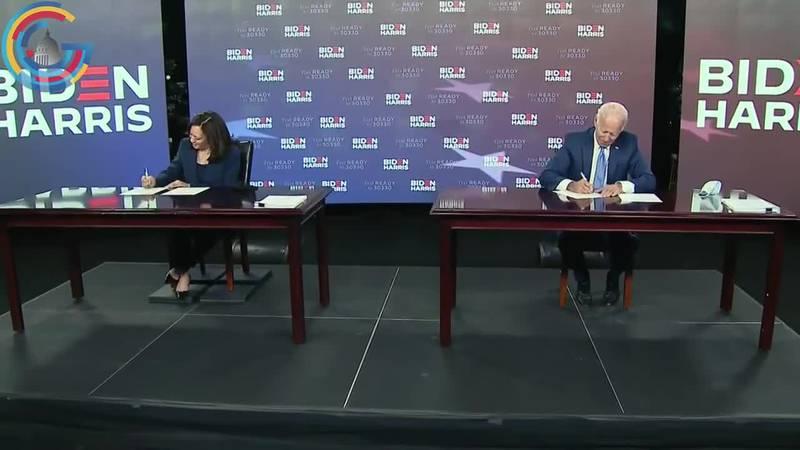 Former VP Joe Biden and Sen. Kamala Harris show Democratic unity as the two candidates at the...