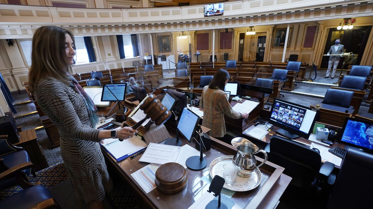 FILE - In this Feb. 10, 2021, file photo, House speaker Del. Eileen Filler-Corn, D-Fairfax,...