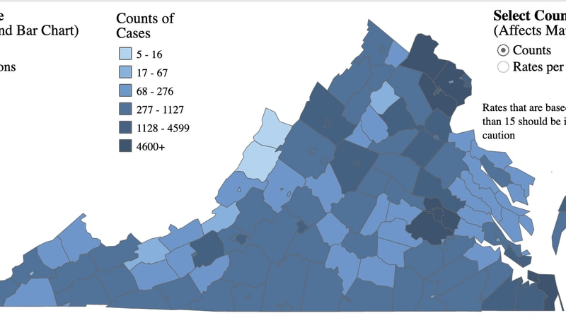 Map of COVID-19 cases in the state as of Oct. 4, 2020.
