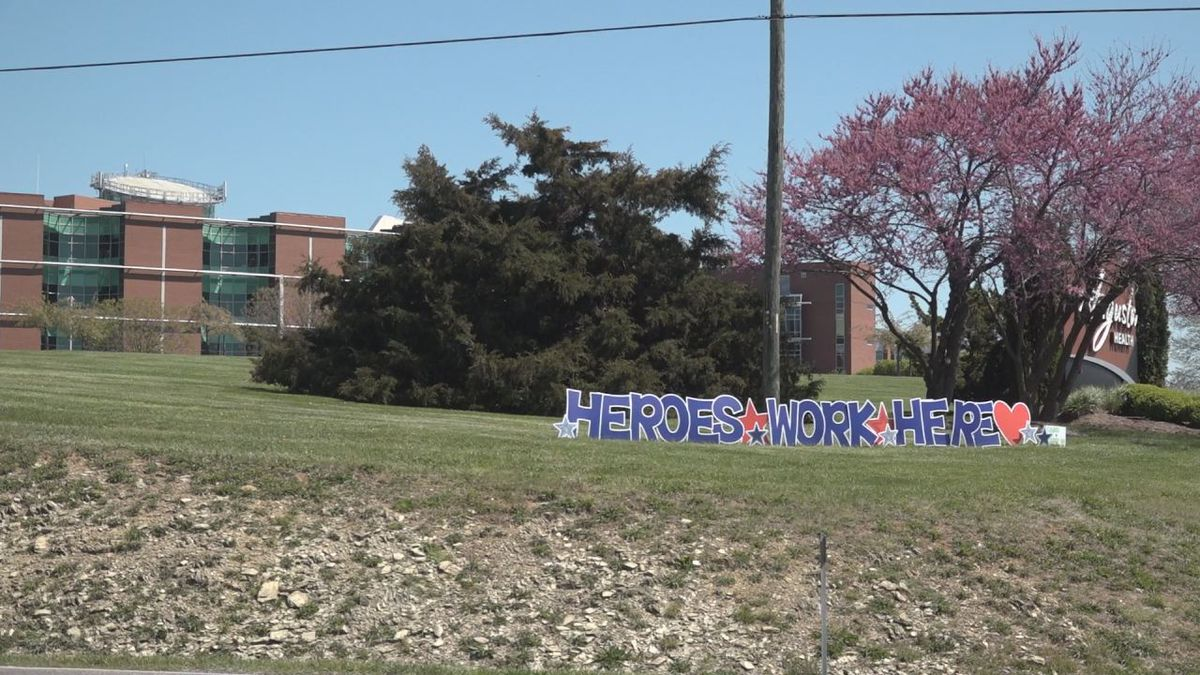 A sign for the healthcare heroes outside of Augusta Health. | Credit: WHSV