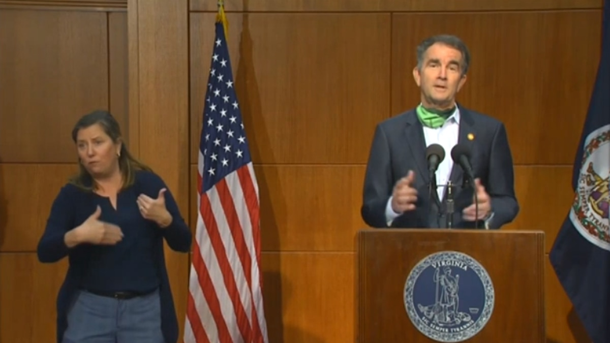 Governor Ralph Northam addressing the public at a May 15 COVID-19 briefing