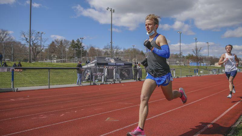 EMU's Isaac Alderfer breaks ODAC Championships record.