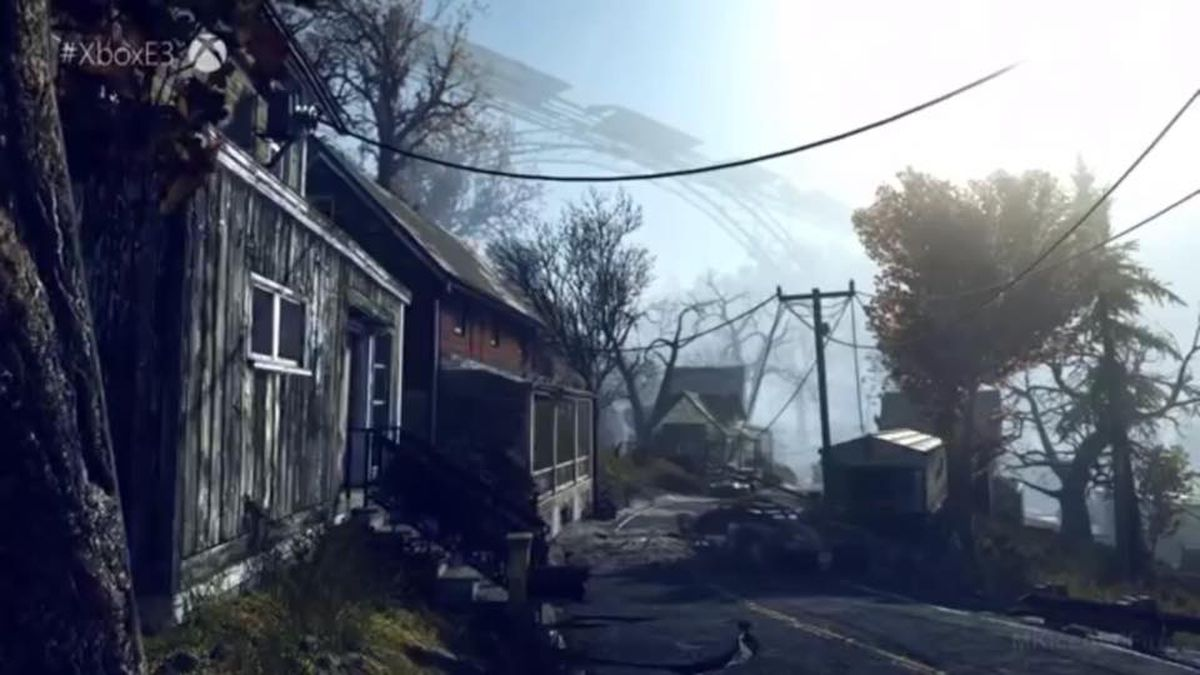 Screenshot of the Fallout: 76 trailer released by Bethesda Game Studios, showing the New River Gorge Bridge in the background