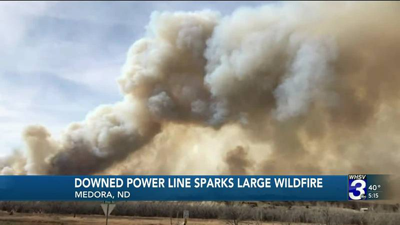 The fire started near the town of Medora.