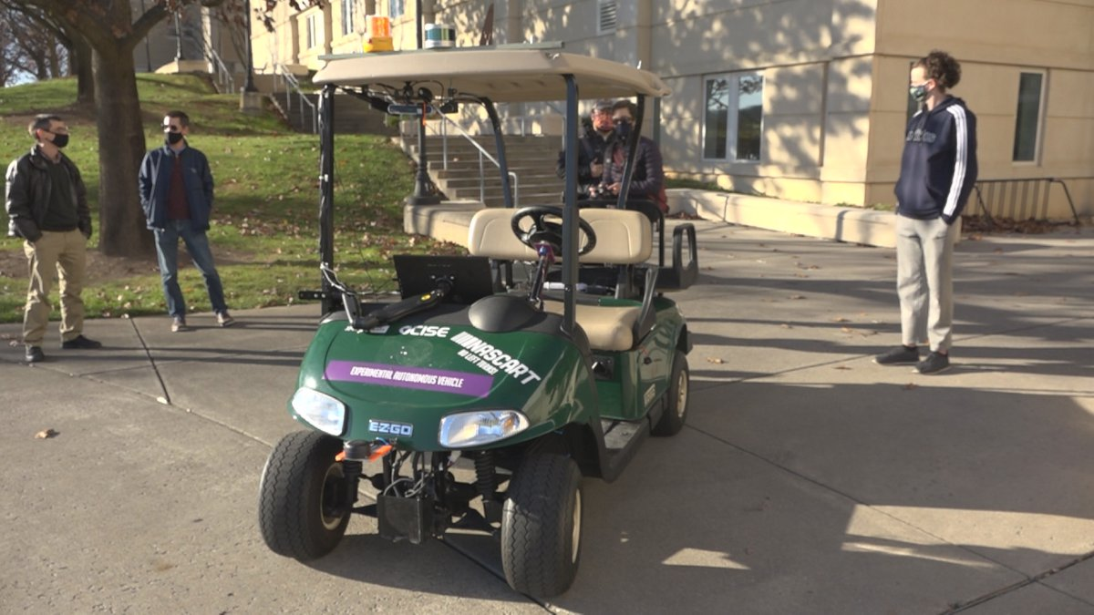 The rider can use an app to request the cart to pick them up from certain locations.