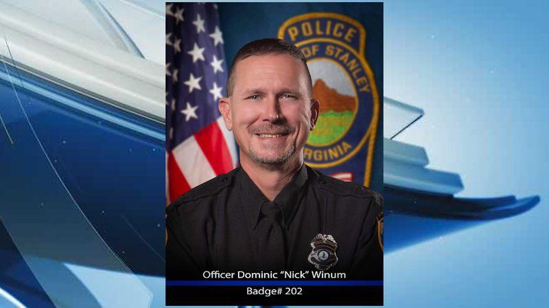 "Virginia State Police confirmed Stanley Police Officer Dominic ""Nick"" J. Winum, 48, was shot..."